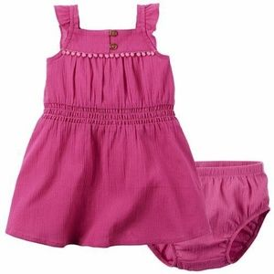 Carter's Pink Gauze Dress and matching Bloomer